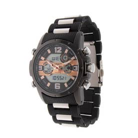 アナログ&デジタル ダイバーズウォッチ風 クロノグラフ トリプルカレンダー メンズ腕時計 HPFS9507-BKPG (BKPG)