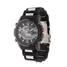 アナログ&デジタル ダイバーズウォッチ風 クロノグラフ トリプルカレンダー メンズ腕時計 HPFS9507-BKRD (BKRD)