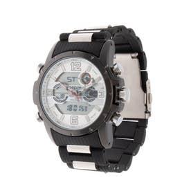 アナログ&デジタル ダイバーズウォッチ風 クロノグラフ トリプルカレンダー メンズ腕時計 HPFS9507-BKWH (BKWH)