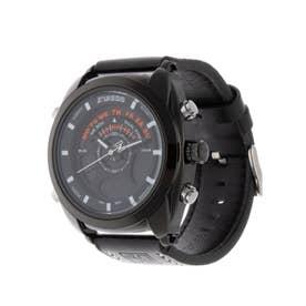 アナログ&デジタル ダイバーズウォッチ風 クロノグラフ トリプルカレンダー メンズ腕時計 HPFS1819-BKBK (BKBK)
