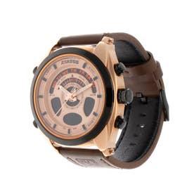 アナログ&デジタル ダイバーズウォッチ風 クロノグラフ トリプルカレンダー メンズ腕時計 HPFS1819-PGD (PGD)