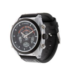 アナログ&デジタル ダイバーズウォッチ風 クロノグラフ トリプルカレンダー メンズ腕時計 HPFS1819-SVBK (SVBK)