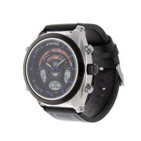 アナログ&デジタル ダイバーズウォッチ風 クロノグラフ トリプルカレンダー メンズ腕時計 HPFS1819-SVBL (SVBL)