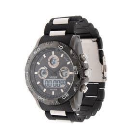 アナログ&デジタル ダイバーズウォッチ風 クロノグラフ トリプルカレンダー メンズ腕時計 HPFS9707-BKBK (BKBK)