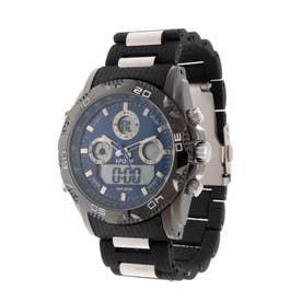 アナログ&デジタル ダイバーズウォッチ風 クロノグラフ トリプルカレンダー メンズ腕時計 HPFS9707-BKBL (BKBL)