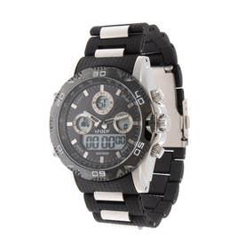 アナログ&デジタル ダイバーズウォッチ風 クロノグラフ トリプルカレンダー メンズ腕時計 HPFS9707-SVBK (SVBK)