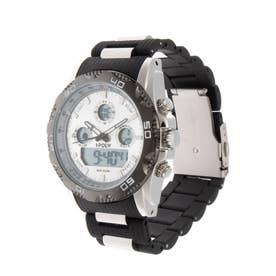 アナログ&デジタル ダイバーズウォッチ風 クロノグラフ トリプルカレンダー メンズ腕時計 HPFS9707-SVWH (SVWH)