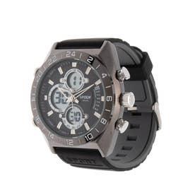 アナログ&デジタル ダイバーズウォッチ風 クロノグラフ トリプルカレンダー メンズ腕時計 HPFS9608-BKBK (BKBK)