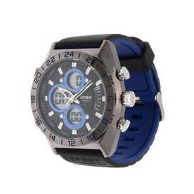 アナログ&デジタル ダイバーズウォッチ風 クロノグラフ トリプルカレンダー メンズ腕時計 HPFS9608-BKBL (BKBL)
