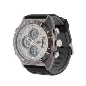 アナログ&デジタル ダイバーズウォッチ風 クロノグラフ トリプルカレンダー メンズ腕時計 HPFS9608-BKWH (BKWH)