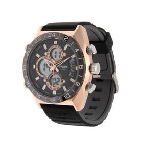 アナログ&デジタル ダイバーズウォッチ風 クロノグラフ トリプルカレンダー メンズ腕時計 HPFS9608-PGD (PGD)