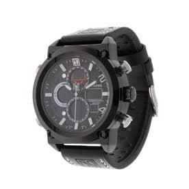 アナログ&デジタル ダイバーズウォッチ風 クロノグラフ トリプルカレンダー メンズ腕時計 HPFS1860-BKBK (BKBK)