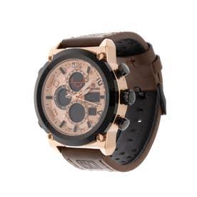 アナログ&デジタル ダイバーズウォッチ風 クロノグラフ トリプルカレンダー メンズ腕時計 HPFS1860-PGD (PGD)