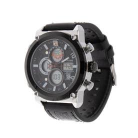 アナログ&デジタル ダイバーズウォッチ風 クロノグラフ トリプルカレンダー メンズ腕時計 HPFS1860-SVBK (SVBK)