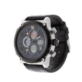 アナログ&デジタル ダイバーズウォッチ風 クロノグラフ トリプルカレンダー メンズ腕時計 HPFS1860-SVBL (SVBL)