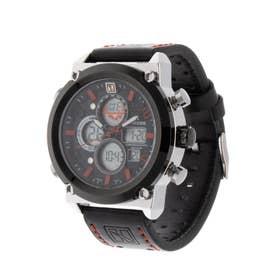 アナログ&デジタル ダイバーズウォッチ風 クロノグラフ トリプルカレンダー メンズ腕時計 HPFS1860-SVRD (SVRD)