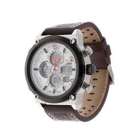 アナログ&デジタル ダイバーズウォッチ風 クロノグラフ トリプルカレンダー メンズ腕時計 HPFS1860-SVWH (SVWH)