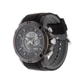 アナログ&デジタル ダイバーズウォッチ風 クロノグラフ トリプルカレンダー メンズ腕時計 HPFS9907-BKBK (BKBK)