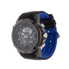アナログ&デジタル ダイバーズウォッチ風 クロノグラフ トリプルカレンダー メンズ腕時計 HPFS9907-BKBL (BKBL)