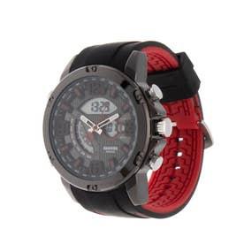 アナログ&デジタル ダイバーズウォッチ風 クロノグラフ トリプルカレンダー メンズ腕時計 HPFS9907-BKRD (BKRD)