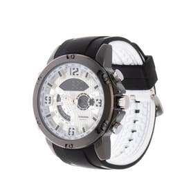アナログ&デジタル ダイバーズウォッチ風 クロノグラフ トリプルカレンダー メンズ腕時計 HPFS9907-BKWH (BKWH)