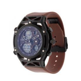 アナログ&デジタル ダイバーズウォッチ風 クロノグラフ トリプルカレンダー メンズ腕時計 HPFS9520-BKBR (BKBR)