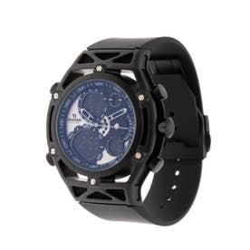 アナログ&デジタル ダイバーズウォッチ風 クロノグラフ トリプルカレンダー メンズ腕時計 HPFS9520-BKSV (BKSV)