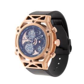 アナログ&デジタル ダイバーズウォッチ風 クロノグラフ トリプルカレンダー メンズ腕時計 HPFS9520-PGD (PGD)