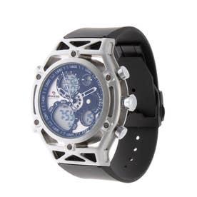 アナログ&デジタル ダイバーズウォッチ風 クロノグラフ トリプルカレンダー メンズ腕時計 HPFS9520-SVBK (SVBK)