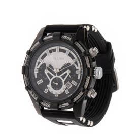 メンズ腕時計 BIDEN バイデン 装飾ベゼル ワイヤーベゼルデザイン カレンダー 日付表示 BD015-BLK (BLK)