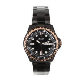 メンズ腕時計 BIDEN バイデン 日本製ムーブメント 日常生活防水 日付・曜日 カレンダー BD014-BKPG (BKPG)
