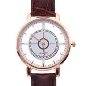 フルスケルトンにゴールドケースが上品な腕時計 PUレザーベルトのシンプルシースルーウォッチ BRW (BRW)