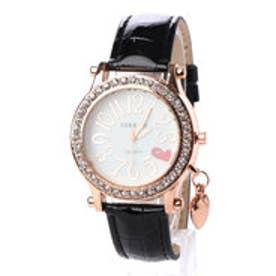 SORRISO ソリッソ ハート文字盤にラインストーンベゼル ハートチャーム腕時計 SRF15-BLK(BLK)