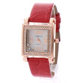 SORRISO ソリッソ ベゼルにラインストーンを散りばめたスクエアケース腕時計 SRHI6-RED(RED)