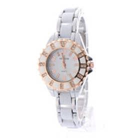 SORRISO ソリッソ ピンクゴールド装飾 ラインストーンベゼル シルバーコンビ腕時計 SRHI12-WHT(WHT)