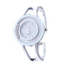 ラウンドストーンが動くバングルウォッチ 丸型腕時計 AV035-WHT (WHT)