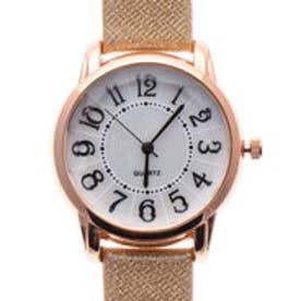 高級感のあるシェル風文字盤ウォッチ クリスタルカットガラスにラメ入りベルトの腕時計 BEI (BEI)