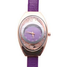 上品なオーバルケースの腕時計 エナメルPUベルトにラインストーンのラグジュアリーウォッチ PPL (PPL)