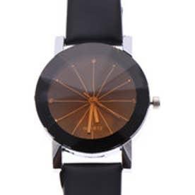 煌めくカットガラスとストーンが高級感を感じさせる 大人な女性のクォーツ腕時計 BLK (BLK)
