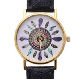 エスニック風デザイン ゴールドケースにフェザープリントのシンプル腕時計 BLK (BLK)