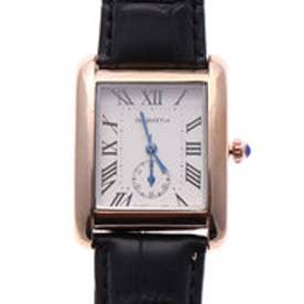 リバース REBIRTH セイコームーブメント 日常生活防水 シンプル 上品 スクエア型 大きめピンクゴールドケースのレザーベルト腕時計 BLK (B