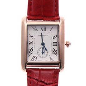 リバース REBIRTH セイコームーブメント 日常生活防水 シンプル 上品 スクエア型 大きめピンクゴールドケースのレザーベルト腕時計 RED (R