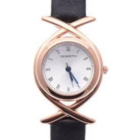 リバース REBIRTH セイコームーブメント 日常生活防水 上品で高級感のあるデザイン ピンクゴールドケースのレザーベルト腕時計 BLK (BLK)