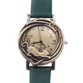 猫をケースにあしらったアンティーク調デザインウォッチ アンティークゴールド腕時計 SPST021-GRN (GRN)