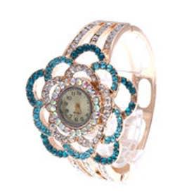 ラインストーンたっぷりのキラキラ腕時計 フラワーデザインのバングルウォッチ SPST016-SKY (SKY)