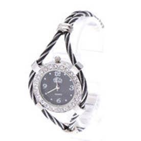 シルバー基調のバングルウォッチ ワイヤー腕時計 AV036-BKBK (BKBK)