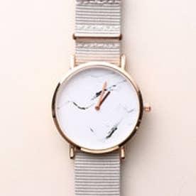 大理石調の文字盤が高級感溢れるデザインウォッチ シンプル2針のNATO風ベルト腕時計 SPST027-GRY (GRY)