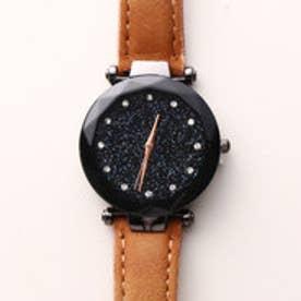 まるで宇宙の輝きを取り入れた文字盤 ブラックケース腕時計 SPST029-BRW (BRW)