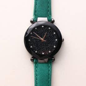 まるで宇宙の輝きを取り入れた文字盤 ブラックケース腕時計 SPST029-GRN (GRN)