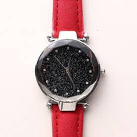 まるで宇宙の輝きを取り入れた文字盤 シルバーケース腕時計 SPST030-RED (RED)